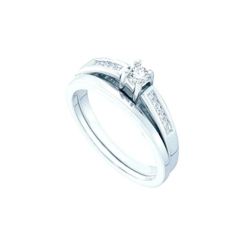 14kt White Gold Womens Round Diamond Bridal Wedding Engagement Ring Band Set 1/4 Cttw by JawaFashion