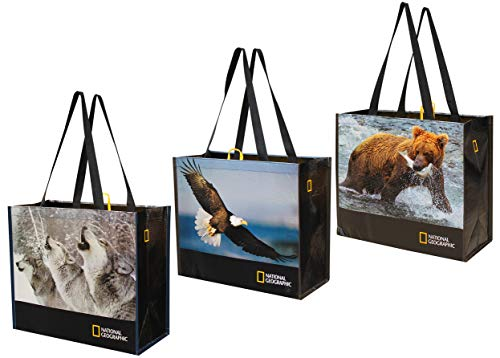 Reusable Grocery Bags Shopping Totes with National Geographic Prints Heavy Duty Made From Recycled Plastic Bottles Laminated Rpet (Set of 3) (Eagle/Bear/Wolves) (Insta Totes)