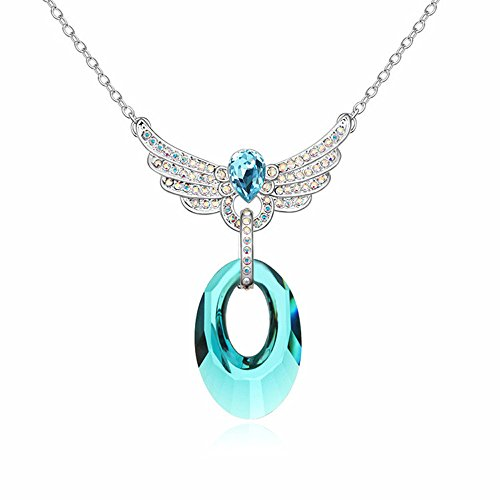 Gorgeous Jewelry Love Wings Pendant Fashion Austrian Crystal Necklace Deluxe Diamond Accented Blue (Moving Survival Kit)