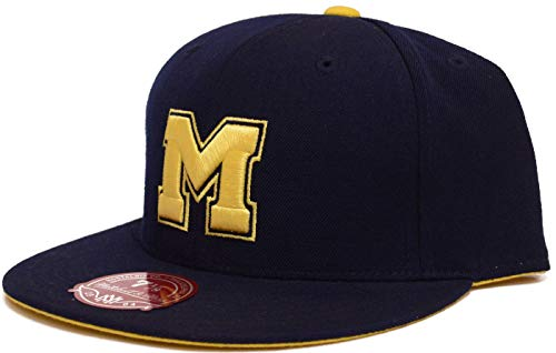 Mitchell & Ness Michigan Wolverines Navy Fitted Hat (7 3/8)