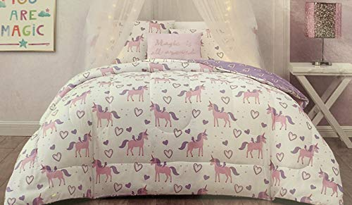 Wonder Studio Pink and Purple Unicorn Bedding with Hearts - Unicorn Comforter Set with Sham, Pillowcase, and Comforter from Wonder Studio