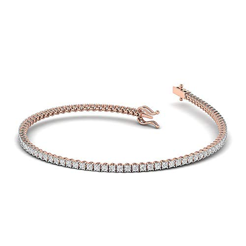 GH/VS - 1 Carat Moissanite Round brilliant Cut Diamond Studded tennis Bracelet Crafted in Pure White, Rose, Yellow Gold - 7 Inch Lenth