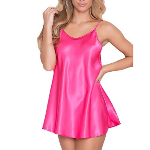 iTLOTL Womens Nighte Dress Plus Size V-Neck Nightdress Erotic Lingerie Babydoll Nightwear Sleepskirt Underwear(Hot Pink,L) -