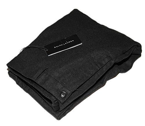 Ralph Lauren Black Label Mens Flannel Flat Front Wool Dress Pants Italy Charcoal Grey 30 ()