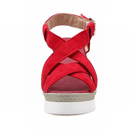 Carolbar Kvinna Spänne Mode Datum Elegans Peep Toe Plattform Kilar Sandaler Röd