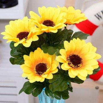 High Quality 1 Bunch 7 Heads Artificial Sunflowers Bouquet Home Craft Decor DIY Cesis