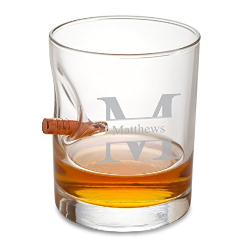 The straight shooter in your group will appreciate this unique, high quality lowball whiskey glass. The beautifully crafted aesthetic is made complete by the real, lodged bullet penetrating the glass. 100% safe and an interesting conversation...