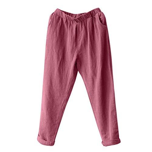 (iYBUIA Plus Size Mid Waist Women Linen Ankle-Length Harem Pants Baggy Loose Trousers Casual Lady(Wine Red,XXXXL))