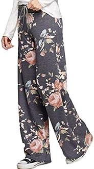 Comeon Women Wide Leg Lounge Pants Floral Print Comfy Stretch Drawstring Pajama Palazzo Pants