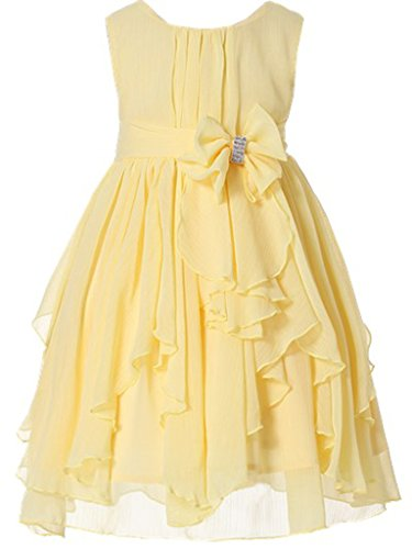 Bow Dream Flower Girl Dress Bridesmaid Ruffled Chiffon Yellow 12