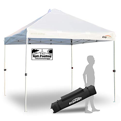 (EzyFast Antipool Pro Commercial Canopy for Rain or Sunshine, White Heavy Duty 10x10 Pop Up Canopy, Portable Patented Instant Shade Tent with Wheeled Carry Bag)