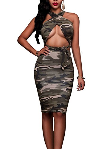 Sexy Sleevelss 2 piece set Club Party Bodycon Bandage Dress Camo L (Sexy Camo Outfits)