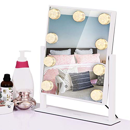 Vanity Mirror with Lights, Hollywood Makeup Mirror with 9 LED Dimmable Bulbs, 3 Color Lighting Modes, Touch Control Plug in, 360° Rotation Design for Dressing Room Bedroom, Tabletop