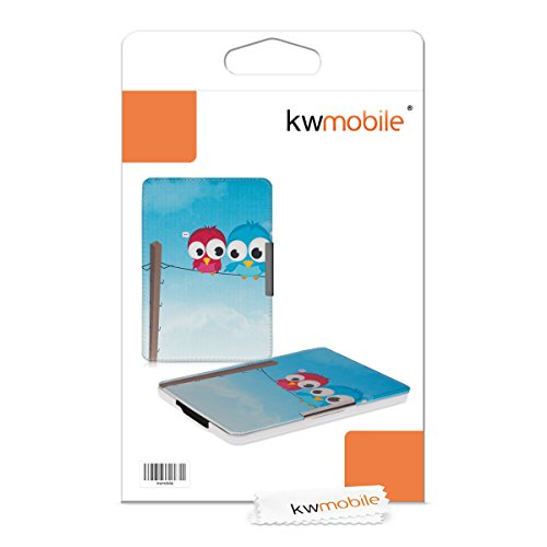 kwmobile Case for Amazon Kindle Paperwhite - Book Style PU Leather Protective e-Reader Cover Folio Case - blue red light blue by kwmobile (Image #7)