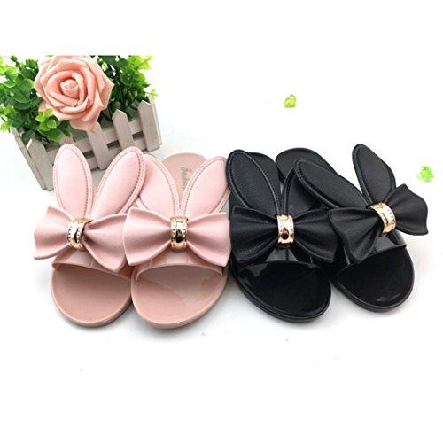 FEITONG Mujer Playa Del Verano Zapatos Mujer Zapatillas Tacones planos Sandalias de tirón Rosa