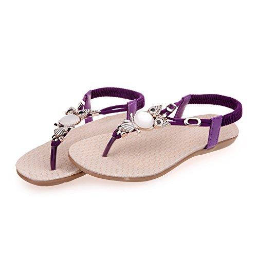Womens Lightweight Beach Flat Sandals Elastic T-Strap Bohemian Beaded Owl Flipflop Sandals Purple US 9 -