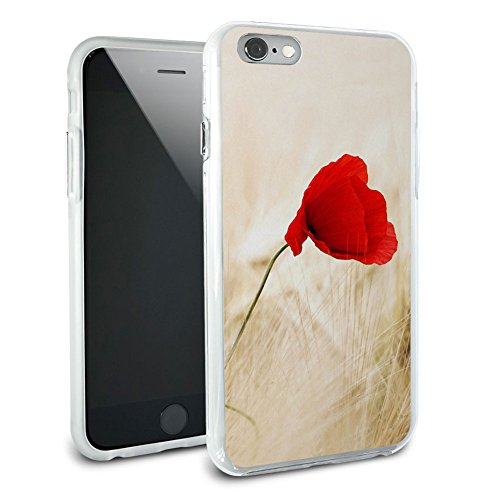 Red Poppy Flower in Wheat Field Protective Slim Hybrid Rubber Bumper Case for Apple iPhone 6