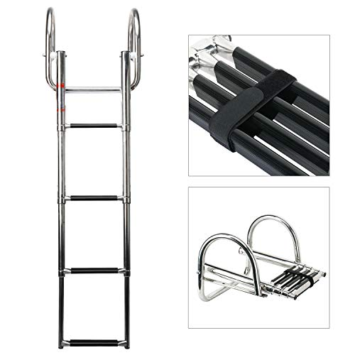 Amarine Made Stainless Steel in-Board 4 Steps Telescoping Ladder Folding Dock Ladder for Marine Boat Yacht Swimming Pool