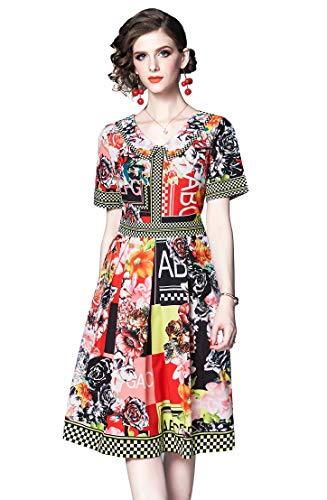 LAI MENG FIVE CATS Women's Summer Round Neck Floral Print Dress Casual...