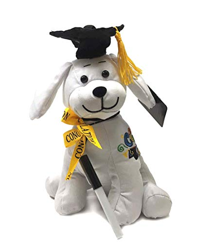 "Graduation Autograph Dog With Pen, Black Hat - Congrats Grad! - Multiple Sitting Sizes to Choice - Hound Dog Gift Toys for Graduate Student Party (10.5""H- Medium) ()"