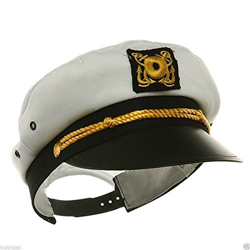 [Adult Ship Navy Officer Yacht Sea Skipper Captain Hat Cap Costume Accessory] (Ship Captain Costumes)