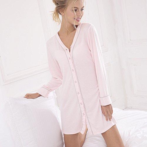 Bata de baño Camisa de pijama de primavera con cuello en V cardigan de manga larga larga camisón sexy servicio a domicilio...
