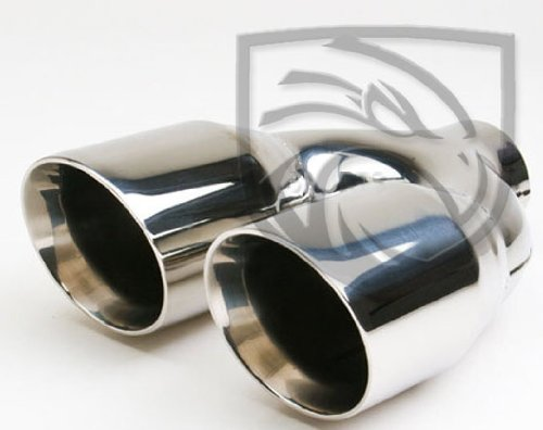 Exhaust Muffler Tip Dual Round Forward Slash Cut Double Wall Inner Bevel Staggered 2.25