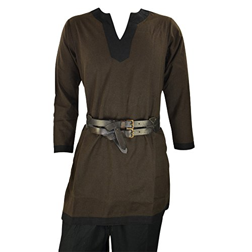 Viking Leather Sword - Armor Venue Medieval Tunic - Costume Shirt Larp Brown w/Black Trim X-Large