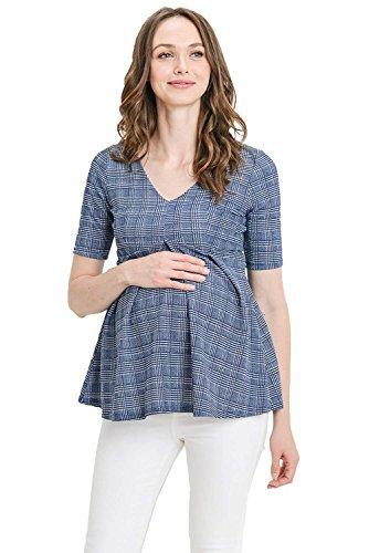Plaid Empire Top - Hello MIZ Women's Maternity Peplum Blouse Top with Empire Waist Pleat (Navy Plaid, Small)