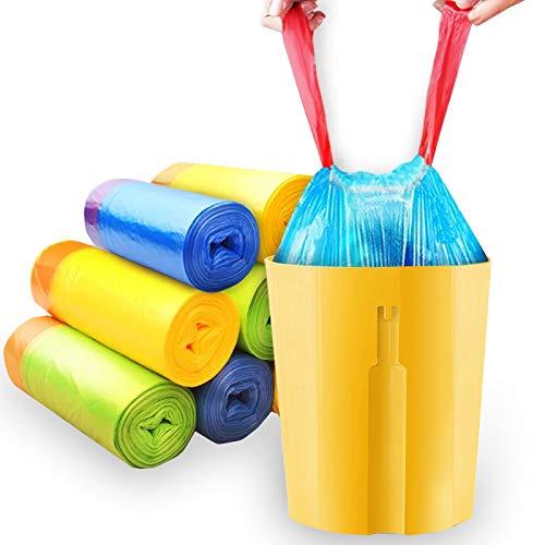 8-13 Gallon Trash Bags - Multipurpose - Automatic - Drawstring – 60 Count Random color (blue, green,yellow,black,8 Gallon/19.7 x21.6inch/50x55cm)