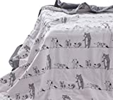 J-pinno Forest Animals Party Cute Muslin Quilt Blanket Crib Bedding Coverlet, 100% Cotton, Comforter Bedspread Throw Blanket for Baby Kid's Bedroom Decoration Gift (3, Toddler 47'' X 59'')