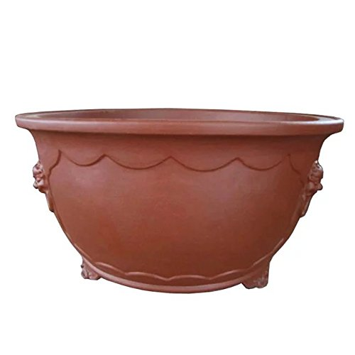 Carving-painting Red-brown Purple Clay Round-basin-flange Type Floor Flowerpot