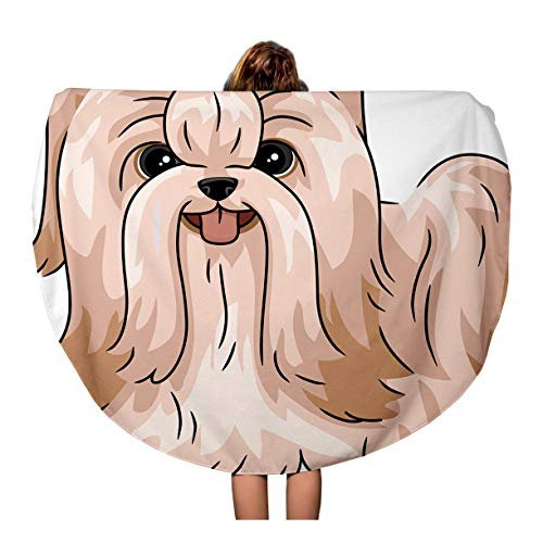 Semtomn 60 Inches Round Beach Towel Blanket Dog Featuring Shih Tzu Shitzu Cartoon Grooming Animal Breed Travel Circle Circular Towels Mat Tapestry Beach Throw