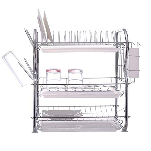 Dish Drying Rack 3-Tier Stainless Steel Dish Drainer Rack Kitchen Storage with Drainboard and Cutlery Cup Kitchen Collection Shelf,20.8 x 17.3 x 9 inch SIN+MON【Ship from USA】 ()