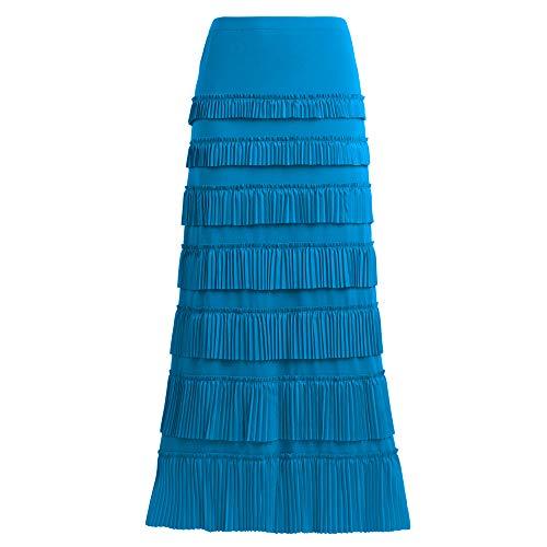 Women's 7 Tiered Boho Layered Pleated Ruffles Waterfall Maxi Skirt (X-Large, Turquoise)