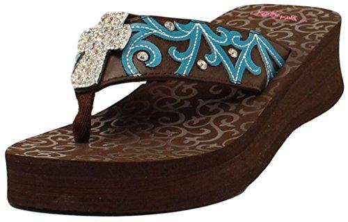 Blazin Roxx Women's Miranda Flip Flops, Brown Leather, 8 M