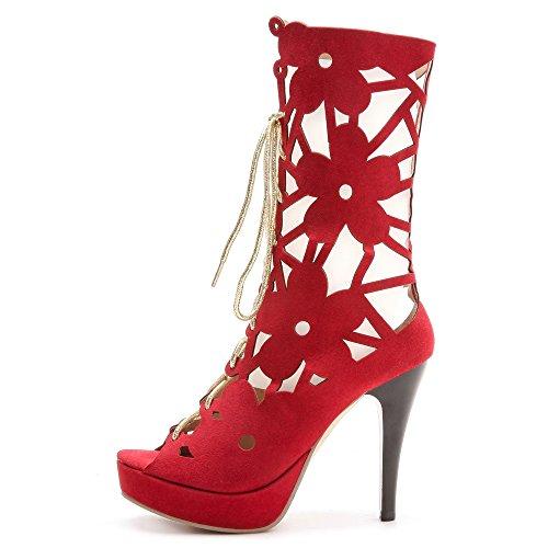 Red D'été Lacets À Chaussures Bottines Toe Taoffen Aiguille Peep Talon Femmes Gladiateur qnwqvfaXP