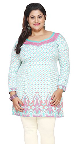 Women's Plus Size Indian Kurtis Tunic Top Printed India Clothes – L…Bust 40 inches, Turquoise