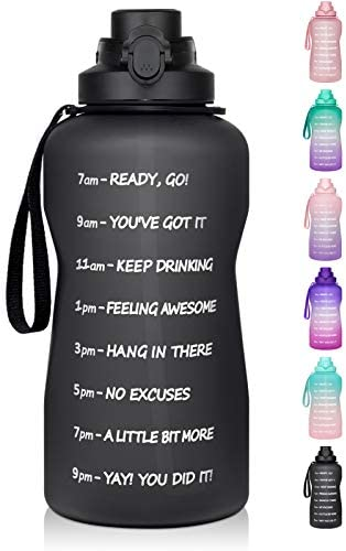 1 Gallon Water Bottle with Time Marker & Straw - 128 oz BPA Free Large Motivational Sports Water Bottle Leakproof Frosted Tritan Big Plastic Office Water Jug to Keep Women Men Drink Enough Water Daily