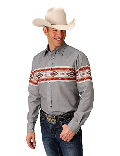 Roper Men's Grey Aztec Border Print Snap Long Sleeve Western Shirt Grey Large