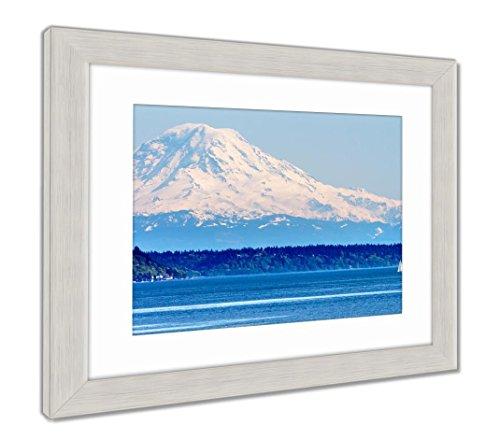 Ashley Framed Prints Mount Rainier Puget Sound North Seattle Snow Mountain Washington, Wall Art Home Decoration, Color, 26x30 (Frame Size), Silver Frame, AG5632063