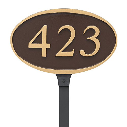 Oval Lawn Plaque - Montague Metal PCS-0133S1-L-BG Ferris Oval Address Plaque Sign with Lawn Stake, 6.5