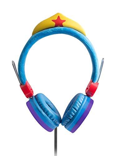 Sakar Wonder Woman Kids Headphones for Girls - Volume Limiting Over-Ear 3.5MM Stereo Jack, Blue