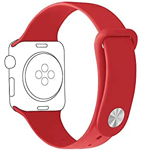 TENOC Apple Watch Band 38mm, Soft Silicone Strap Style Replacement Sport Wristband for Apple iWatch 38mm Series 1 & 2 & 3 All Models(Red)