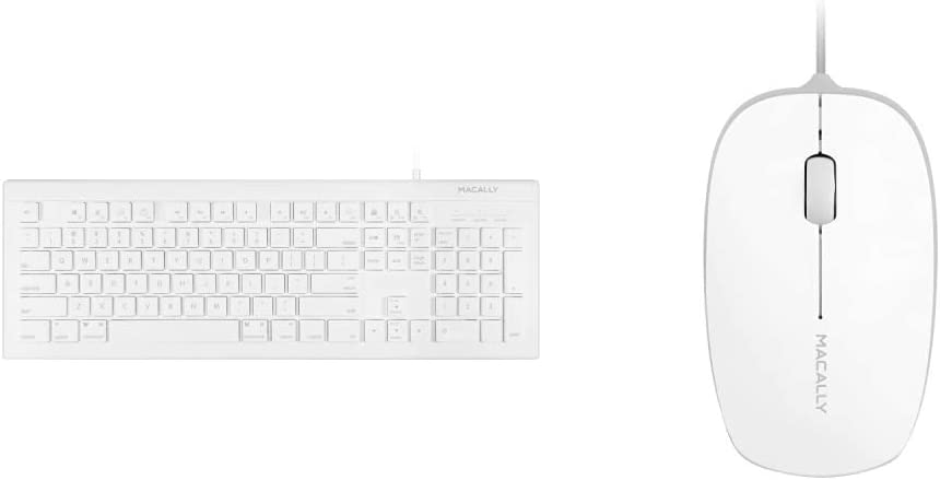 Macally Full Size USB Wired Keyboard for Mac and PC - Plug & Play Wired Computer Keyboard - White & 3 Button USB 800Dpi Optical Computer Wired Mouse with 4 Foot Cord