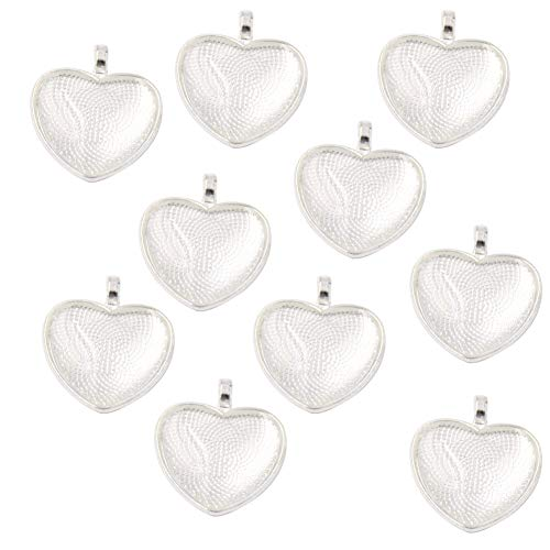 (20 Pieces Heart-Shaped Bezel Pendant Trays and 20 Pieces Heart-Shaped Glass Cabochon Round Dome Tiles Clear Cameo,Totally 40 Pieces (Bright Sliver))
