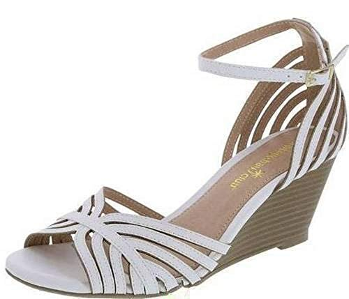 Montego Bay Club Womens Prima Strappy Wedge Sling Sandals Heels Shoes (13, White)