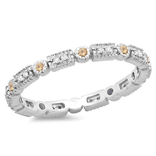 0.25 Carat (ctw) 14K Gold Round Champagne & White Diamond Ladies Wedding Eternity Stackable Band 1/4 CT