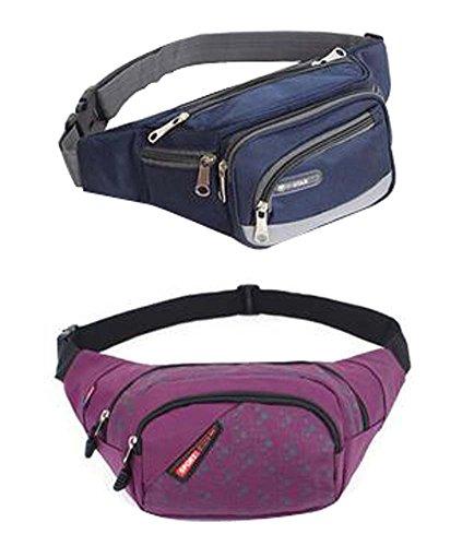 Set von 2 hochwertigen Durable Sport Outdoor-Taschen Taille Packs blau und lila