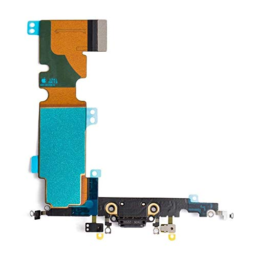 Afeax OEM Charging Port Dock Connector Flex Cable + Microphone + Cellular Antenna + Vibration Motor Connector Replacement Part Compatible iPhone 8 Plus 5.5 All Carriers (Black/Space Gray)